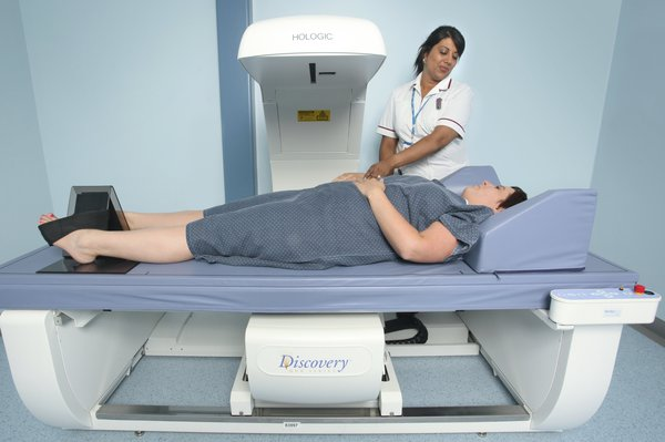 Picture of a person having a DEXA scan