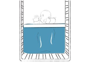 Drawing of a baby lying on its back in a cot. The baby is covered with a blue blanket with its head and hands uncovered.