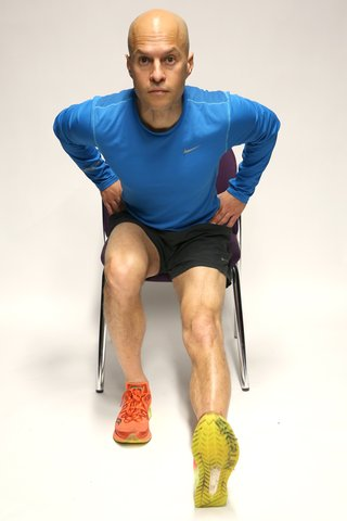 Hamstring stretch leaning position