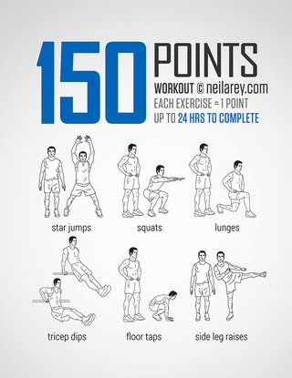 An image of exercises. Each exercise is 1 points. Star jumps, squats, lunges, tricep dips, floor taps, side leg raises.