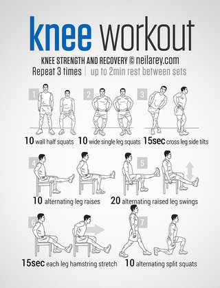 An image of knee exercises. Repeat 3 times and rest for 2 minutes between sets. 10 wall half squats, 10 wide single leg squats, 15 seconds cross leg side tilts, 10 alternating leg raises, 20 alternating raised leg swings, 15 seconds stretching each hamstring, 10 alternating split squats.