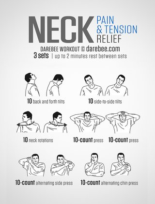 3 sets of neck exercises with a 2-minute rest between sets. 10 back and forth tilts, 10 side-to-side tilts, 10 neck rotations, 10 count press to back of head, 10 count press to forehead, 10 count alternating side press of face, 10 count alternating chin press.