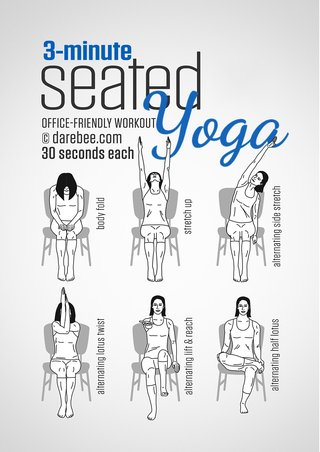 3-minute seated yoga routine, 30 seconds on each exercise. Forward fold, stretch up, alternating side stretches, alternating lotus twists, alternating lift and reach, alternating half lotus.