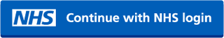Picture of the NHS login button. The button has a blue background with white text that says continue with NHS login, next to the NHS logo.