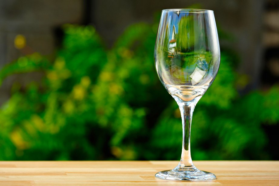 Image of a wine glass on a table