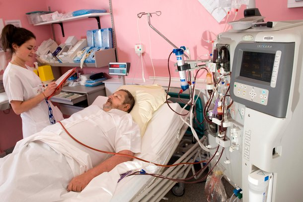 Picture of a person having haemodialysis