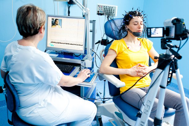 Picture of a person having an EEG
