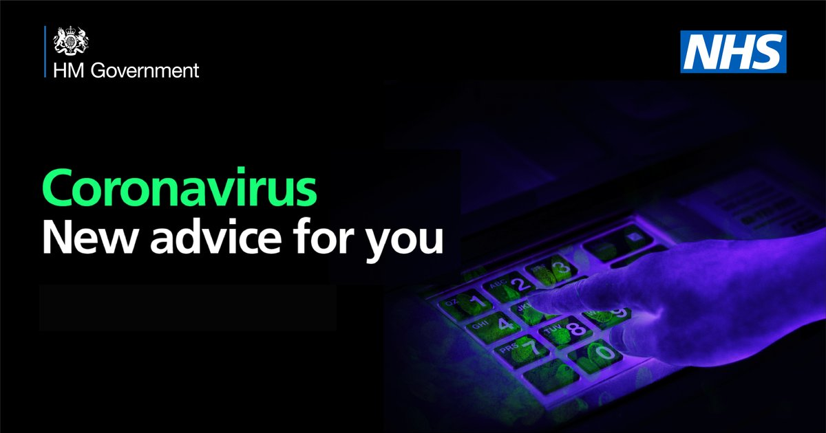 Finger typing on bank machine pin pad, illustration showing germs on the surface. Text reads coronavirus, new advice for you.