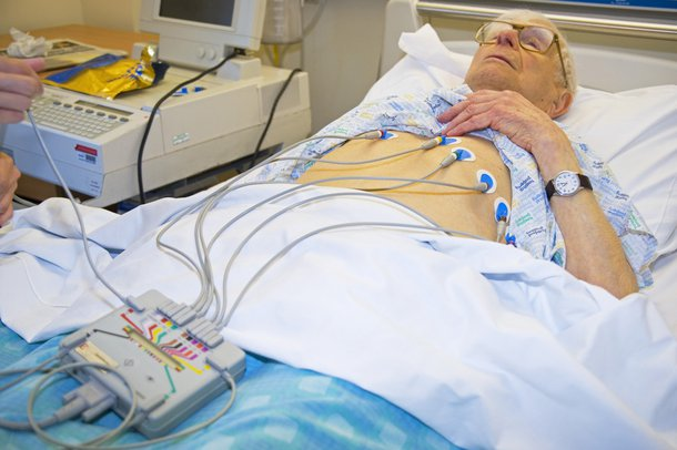 Picture of person having an electrocardiogram (ECG)