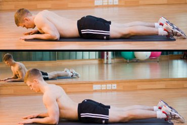 Two pictures. Top: man lying face down in back extension start position. Bottom: man doing back extension stretch.
