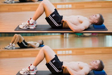 Two pictures. Top: Man on back in abdominal strengthening start position. Bottom: man doing deep abdominal stretch.