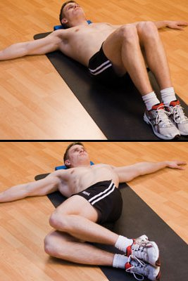 Two pictures. Top: Man lying on back, legs bent, arms out. Bottom: Man with legs rolled to the side