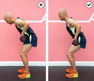Side-by-side comparison of someone hunching their back during a bent over row, and someone maintaining a straight back