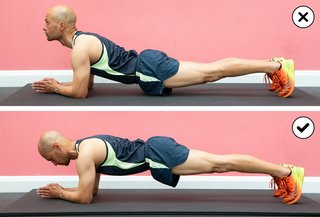 Top-to-bottom comparison of someone planking with their head up and waist dipped, with someone planking correctly with the head down and waist in a straight line