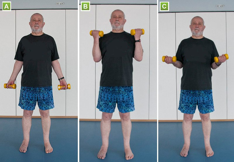 Picture of a man doing a bicep curl