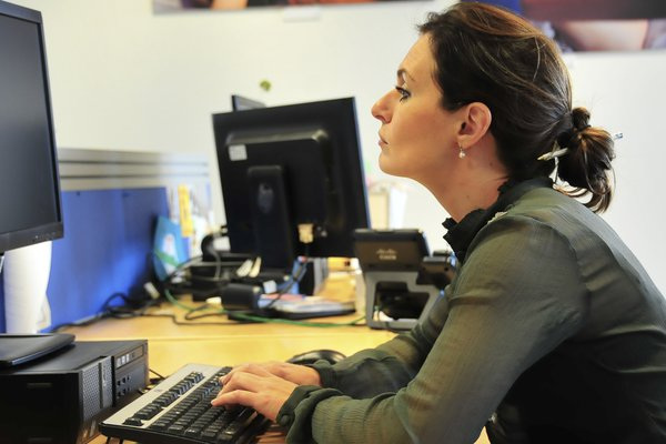 Picture of a woman in a poking chin posture