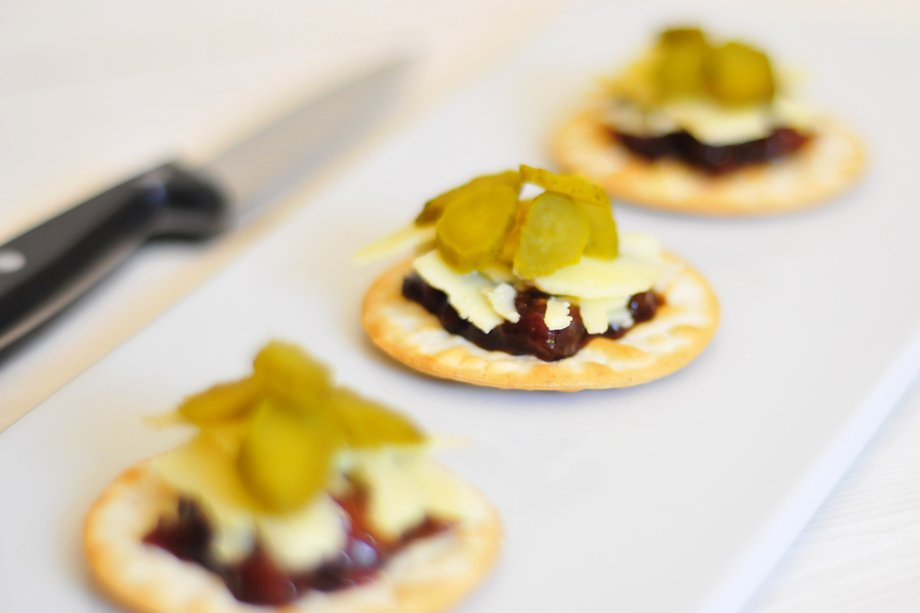 Cheese and pickle canapés