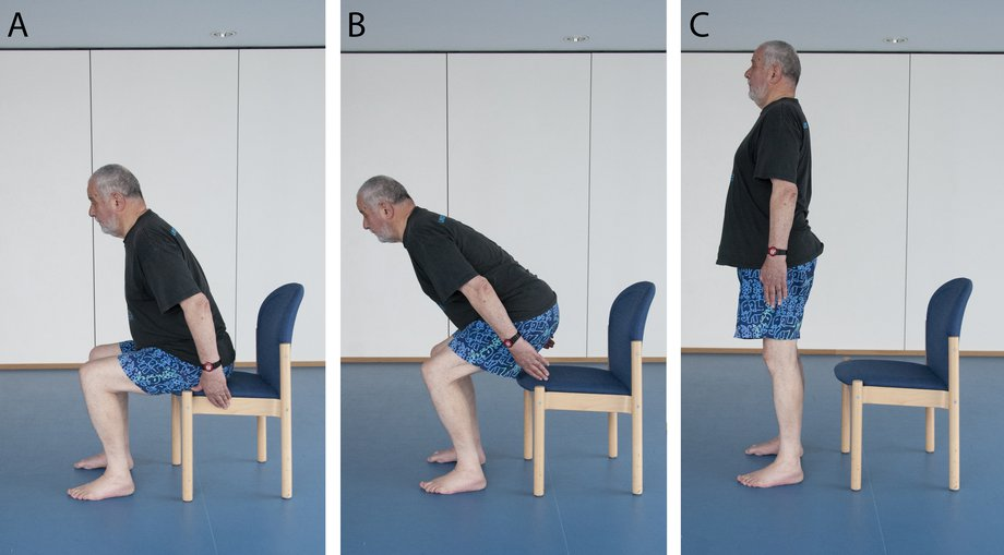 Picture of a man doing a sit-to-stand exercise