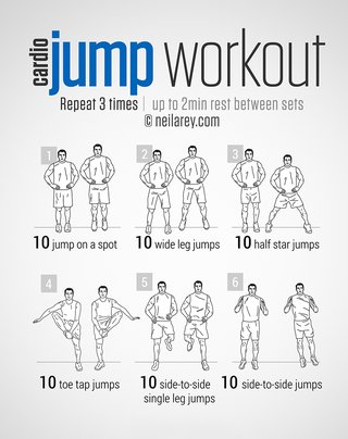 An image of exercises. Repeat 3 times and rest for 2 minutes between sets. 10 jumps on the spot, 10 wide leg jumps, 10 half star jumps, 10 toe tap jumps, 10 side-to-side single leg jumps, 10 side-to-side jumps.