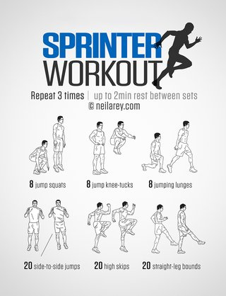 Image of exercises. Repeat 3 times with a 2-minute rest between sets. 8 jump squats, 8 jump knee tucks, 8 jumping lungs, 20 side-to-side jumps, 20 high skips, 20 straight leg bounds.