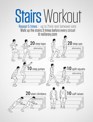 An image of exercises you can do with stairs. Repeat 5 times and rest for 2 minutes between sets. 20 alternating step taps, 20 alternating step ups, 10 step jumps, 10 split squats, 20 stair climbers, 10 calf raises with your feet on the edge of a stair.