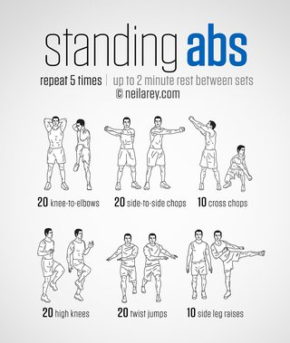 An image describing exercises you can do for your abs while standing. This includes doing 20 knee to elbows, side-to-side chops, cross chops, high knees, twist jumps and side leg raises. Repeat 5 times and have a 2 minute rest between sets.