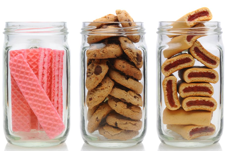 Jars of biscuits