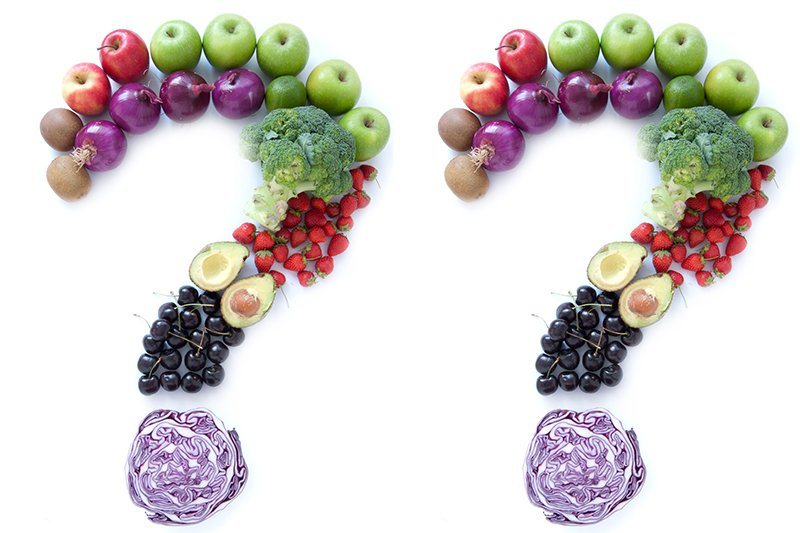 Picture of fruit arranged into a question mark