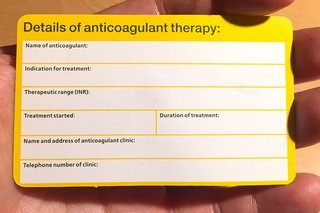 Picture of the back of an anticoagulant alert card - back