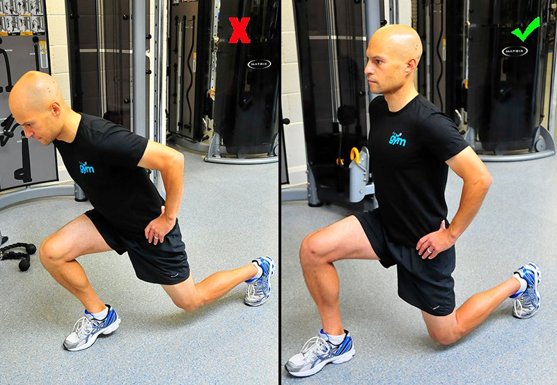 Side-by-side comparison of someone stepping forward too far for a lunge with the knee further forward than the toes and upper body leaning forward, and someone correctly having their knee behind the toes and upper body straight