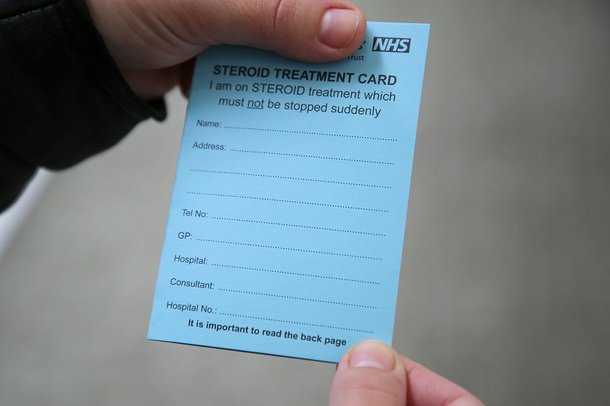 Blue steroid card example